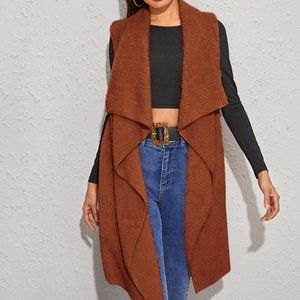 New Brown Colored Waterfall Teddy Vest Coat